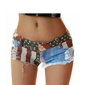 Pants - American Flag Print Jean Shorts